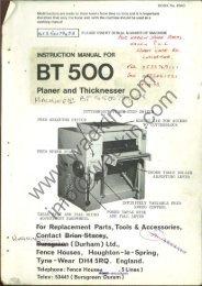 Wadkin BT 500 Thicknesser Manual and Parts List