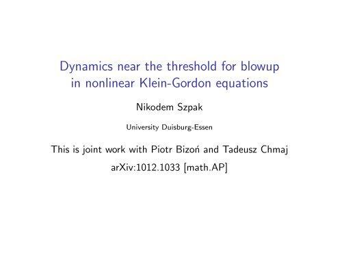 in nonlinear Klein-Gordon equations - University of Essen