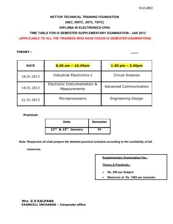 cp04 iv & vi semester supplementary 2013 - NTTF