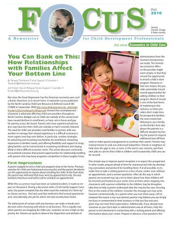 FOCUS Newsletter, Fall 2010 - Child Care Services Association
