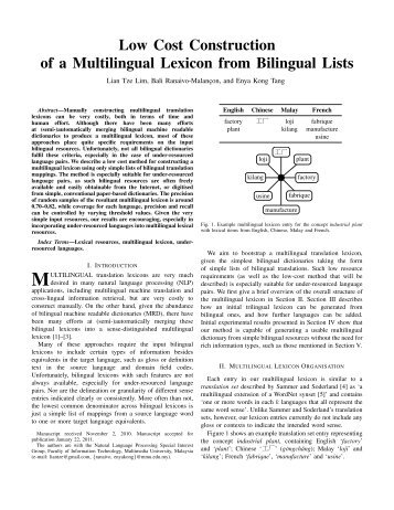 Low Cost Construction of a Multilingual Lexicon from Bilingual Lists