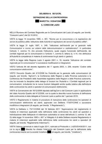 Delibera 58/12/CRL - Corecom Lazio