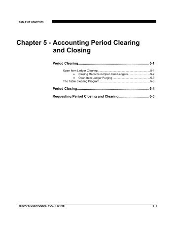 Chapter 5 - Accounting Period Clearing & Closing