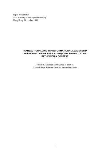 Transactional and Transformational Leadership - Venkat R ...