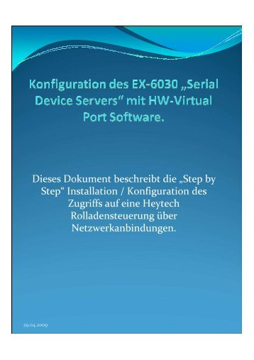 Installation / Konfiguration des Zugriffs auf eine Heytech ...