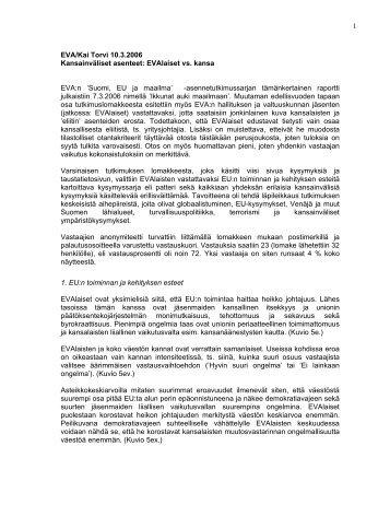 'Suomi, EU ja maailma' -asennetutkimussarjan - Eva