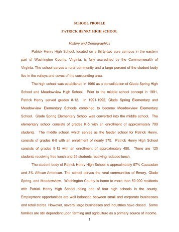 1 SCHOOL PROFILE PATRICK HENRY HIGH SCHOOL History and ...