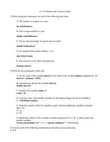 cs 110 homework ii answer sheet 1 write declaration statements