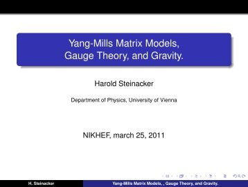 Yang-Mills Matrix Models, Gauge Theory, and Gravity.