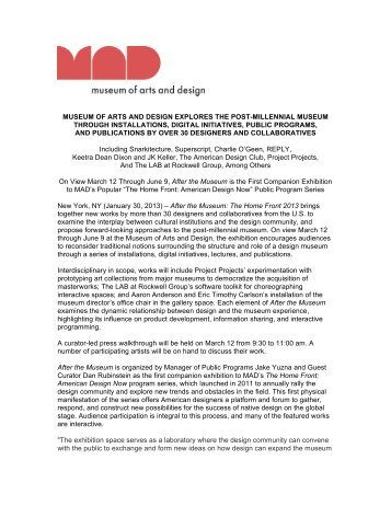 After the Museum Press Release (pdf) - Museum of Arts and Design