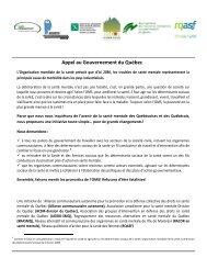 Appel au Gouvernement du Québec - Réseau québécois d'action ...