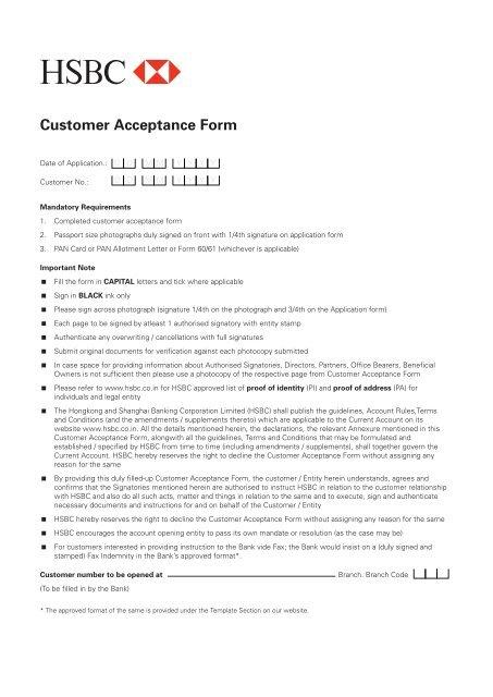 Customer Acceptance Form - HSBC