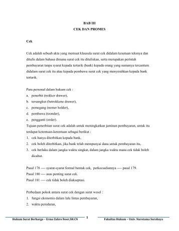 Modul Hukum Surat Berharga 3 Cek Dan Promes Erma Zahro