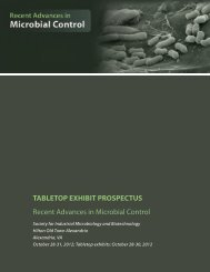 tabletop exhibit prospectus - Society for Industrial Microbiology