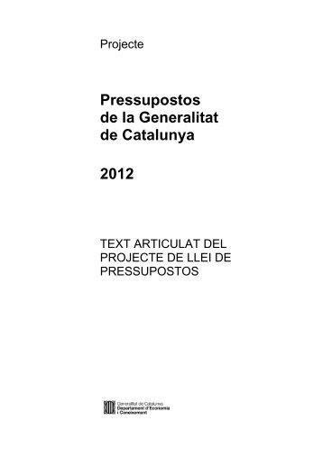 Projecte de llei de pressupostos de 2012 - Generalitat de Catalunya