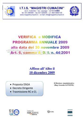 Affisso all'Albo il 10 dicembre 2009 - itis magistri cumacini