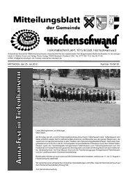MITTWOCH, den 25. Juli 2012 Nummer 15 KW 30 - Höchenschwand