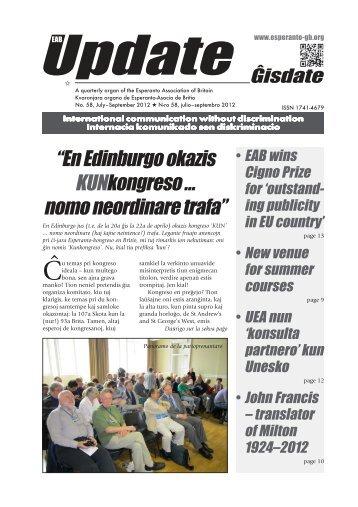 Ĝisdate 58, julio-septembro 2012 - Esperanto Association of Britain