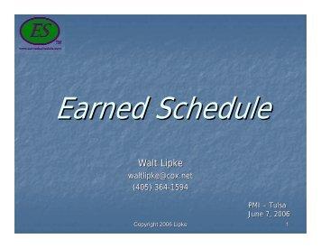 Walt Lipke - Earned Schedule