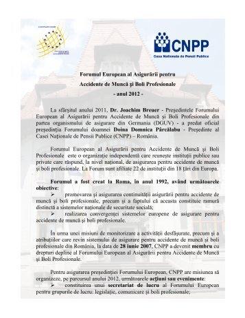 Forumul European al Asigurării pentru Accidente de Muncă și Boli ...