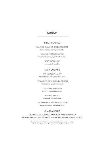 Cafe Escadrille Lunch Menu
