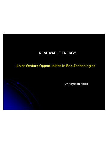 RENEWABLE ENERGY Joint Venture Opportunities in Eco ... - sesec