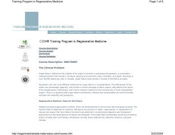 Page 1 of 8 Training Program in Regenerative Medicine 9/23/2004 ...