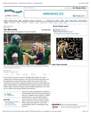 blind side movie review 20112009 in an attempt at full disclosure, i saw the trailers for the blind side and had little hope it could be any good i walked in expecting yet another sappy.
