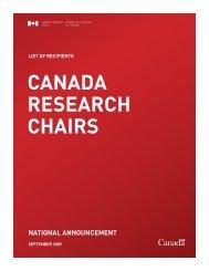 CANADA RESEARCH CHAIRS - Chaires de recherche du Canada