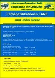 Farbspezifikationen LANZ und John Deere
