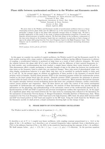 Phase shifts between synchronized oscillators in the Winfree and ...