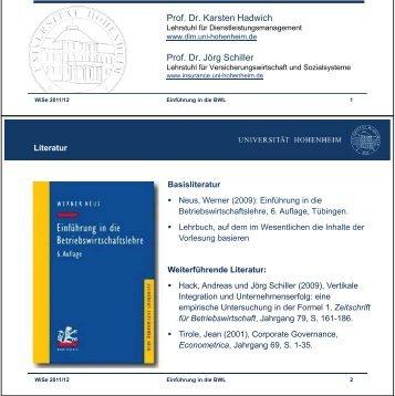 1.Vorlesung - Lehrstuhl für Versicherungswirtschaft und Sozialsysteme