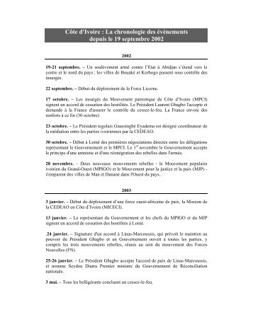 La chronologie des événements depuis le 19 septembre 2002 - Onuci
