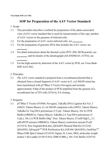 SOP For Preparation Of The AAV Vector Standard