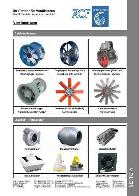 Ventilatortypen - ACF Ventilatoren GmbH