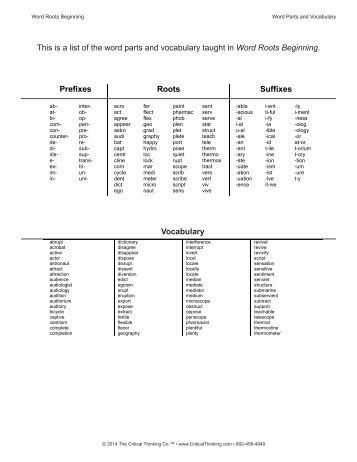 the critical thinking company word roots Word roots lv 4 (ctb3754) students learn the meaning and spelling of roots, prefixes, and suffixes commonly used in english learning these word elements dramatically improves spelling and the ability to decode unfamiliar word.