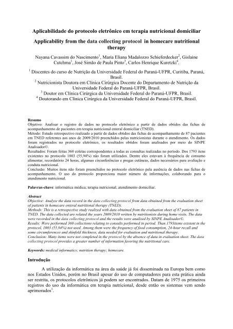 Aplicabilidade do protocolo eletrônico em terapia nutricional ... - SBIS