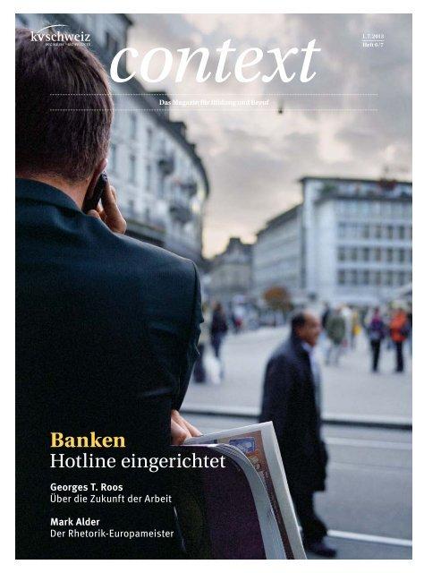 Context Nr. 6-7 / Juni/Juli 2013 - Banken (PDF, 5630 kb) - KV Schweiz
