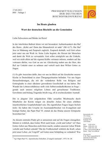 Im Heute glauben Wort der deutschen Bischöfe an die Gemeinden