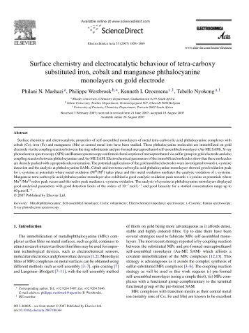 Surface chemistry and electrocatalytic behaviour of tetra ... - Mintek