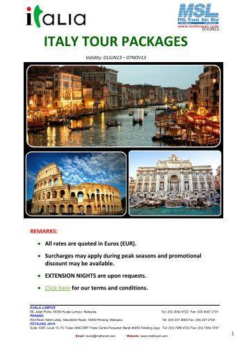 Italy Escorted Tours 2013 - msltravel.com