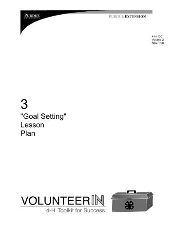 Download Goal Setting Lesson Plan - Indiana 4-H - Purdue University