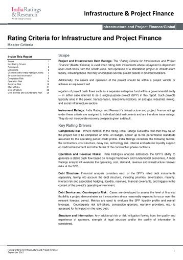 Rating Criteria for Infrastructure and Project Finance - India Ratings