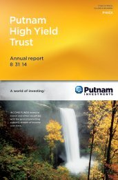 High Yield Trust Fund Annual Report - Putnam Investments