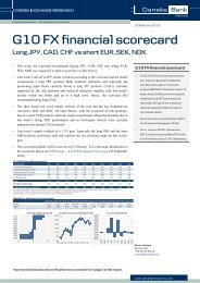 G10 FX Financial Scorecard - Danske Analyse - Danske Bank