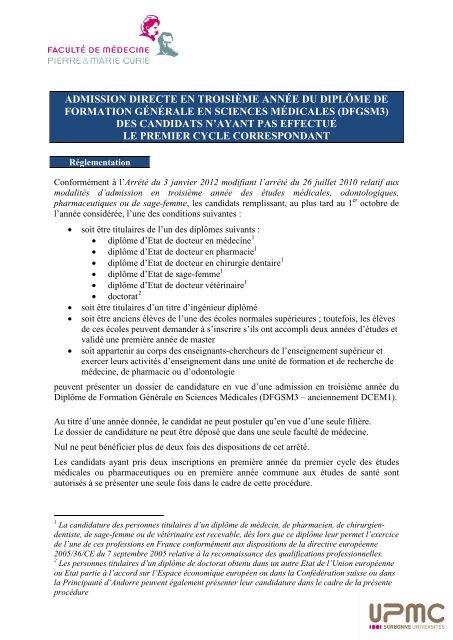 Carte Accord Upmc.Dfgsm3 Faculte De Medecine Pierre Et Marie Curie Upmc
