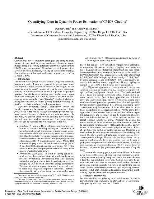 Quantifying error in dynamic power estimation of CMOS circuits ...