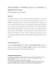 Développement, économie sociale et démocratie politique - UQO