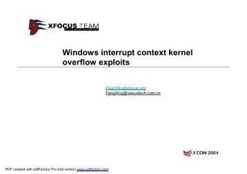 Windows Kernel Device Driver Exploit - XCon - Xfocus.org