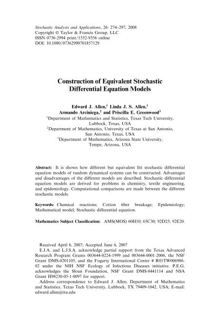 Construction of Equivalent Stochastic Differential Equation